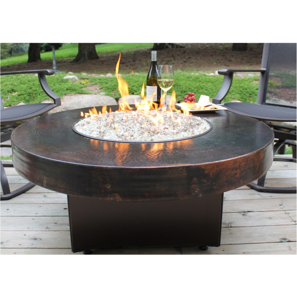 """HAMMERED COPPER FIREPIT TABLE 48""""DIA"""